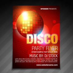 disco party flyer brochure poster template design