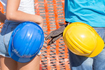 Couple getting ready for some construction work at home.
