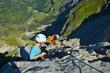 Kinder, Jugendliche im Klettersteig
