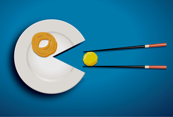 Vecter of white plate eating mealball with chopstick on blue bla