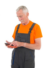 Laborer with digital tablet