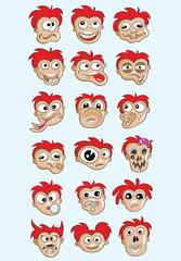 Expression face cartoon set, art vector design