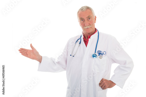 canvas print picture Physician presenting something on white background