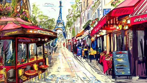 Canvas Parijs Street in paris - illustration