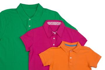 Three colored polo shirt close-up