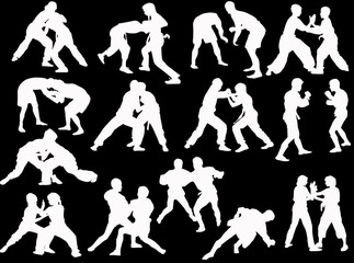 hand-to-hand white fighters isolated silhouettes