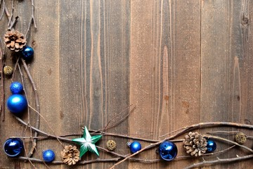 Blue Christmas ornament balls with star.frame