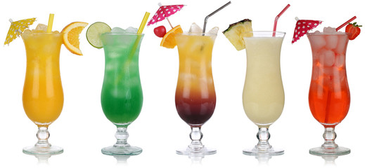 Set von Cocktails wie Pina Colada und Tequila Sunrise