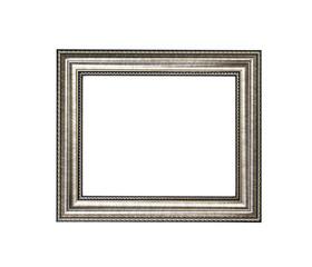 Golden wood frame isolated on white background