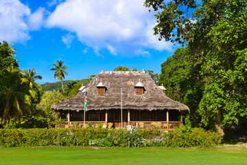 Retro colonial house at Seychelles