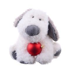 dog with a Christmas ball