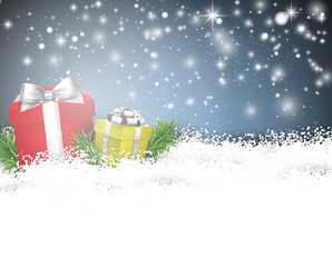 Christmas background with gift boxes.