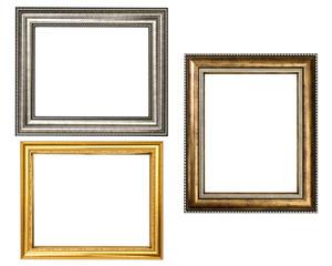 Gold wood frame on white background