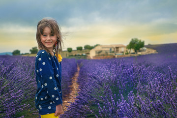 Kid in lavender field
