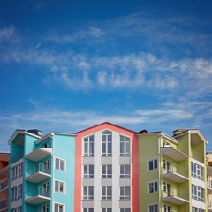 Colorful houses under a blue sky