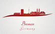 Bremen skyline in red