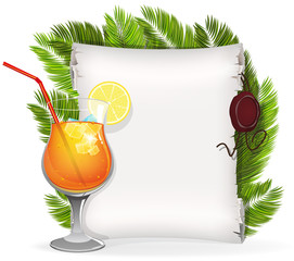 Cocktail with paper scroll and palm branches