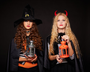 Girls with lanterns
