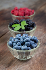Berries on a wooden table