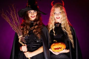 Halloween celebrators