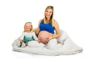 Pregnant mother with preschool child