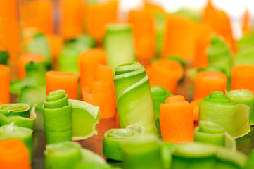 twisted slices of carrot and zucchini