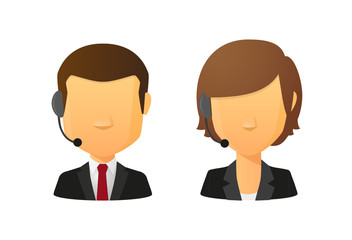 Telemarketing operators avatar set