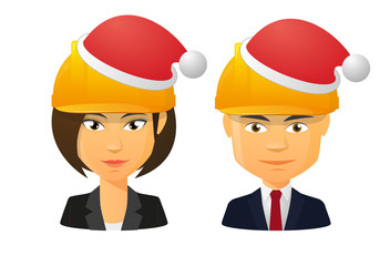 People wearing a work hat and a santa hat