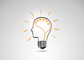 Light bulb metaphor for good idea, Inspiration concept
