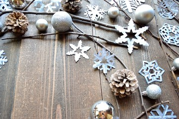 Snow flakes,ornament balls and pine cones