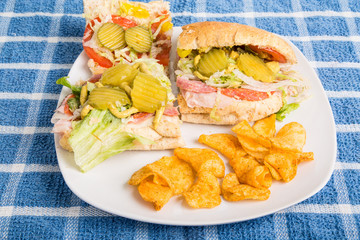 Open Italian Sub with Pickles