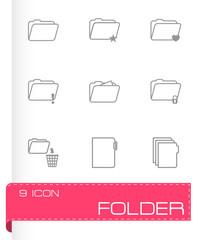 Vector black folder icons set