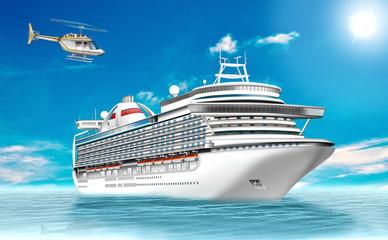 Kreuzfahrtschiff, Luxusliner mit Helikopter auf Ozean