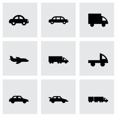 Vector black vehicles icons set