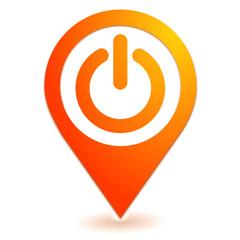 marche arret sur symbole localisation orange