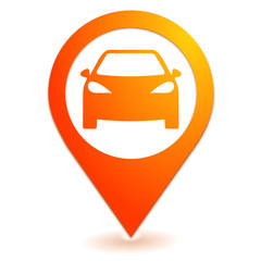 voiture sur symbole localisation orange