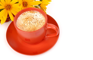 Coffee and flowers on a white background