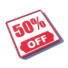 50 percent off on 3D red icon or button