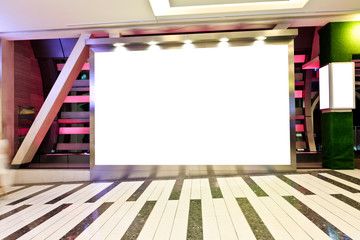 blank billboard in shopping mall