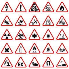Warnzeichen Warnschilder - Set rot weiß