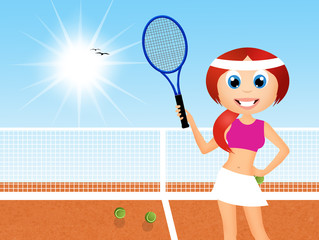 girl playing to tennis