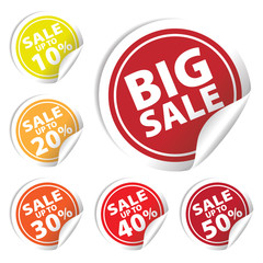 Big Sale tags with Sale up to 10% - 50% text on circle tags