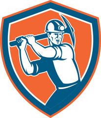 Coal Miner Wielding Pick Axe Shield Retro