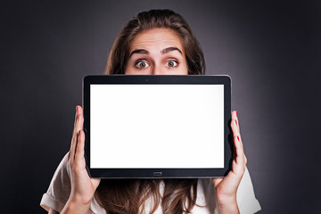 Woman holding a Tablet PC