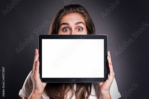 canvas print picture Woman holding a Tablet PC