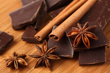 Chocolate, cinnamon sticks and star anise