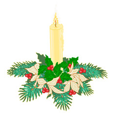 Christmas candle with boughs of holly and poinsettia  vector