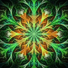 Beautiful fractal flower in black, green and beige. Computer gen