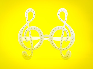 G clef glasses on yellow background