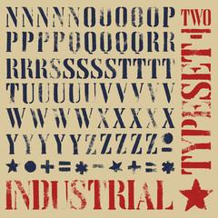 Stencil grunge typeset
